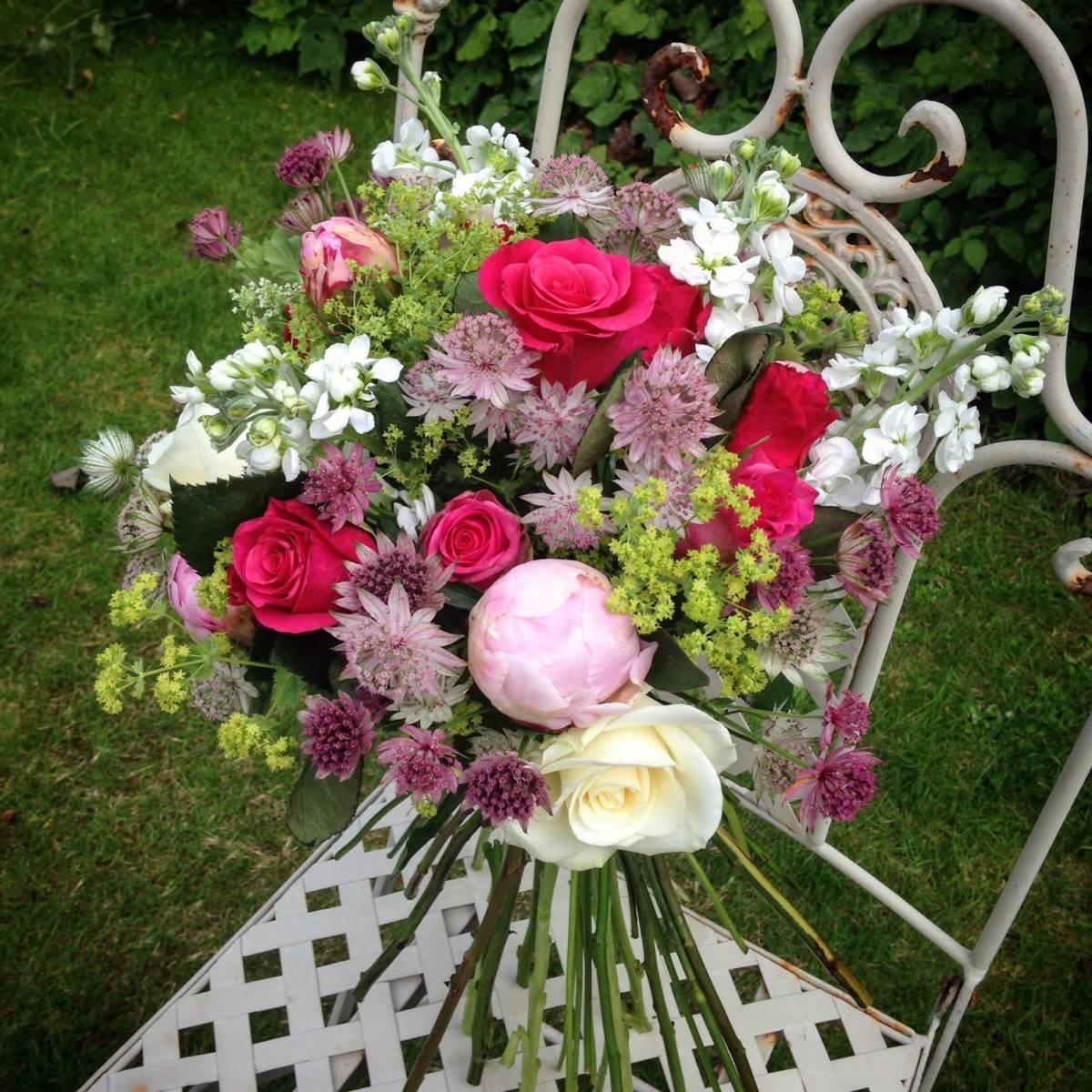 peony astrantia stock bouquet