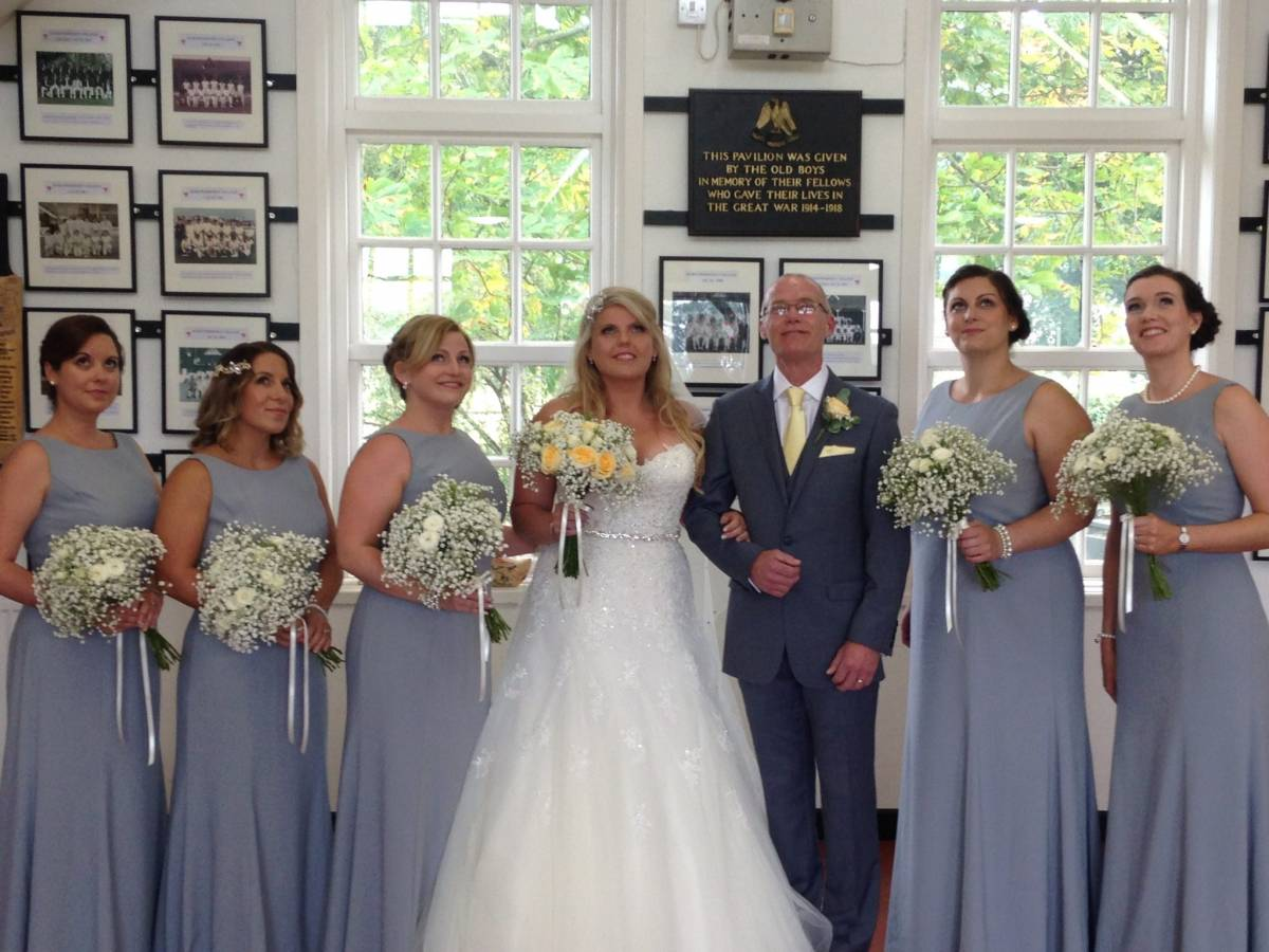 Bridal party, Hurst cricket pavilion, August 2016