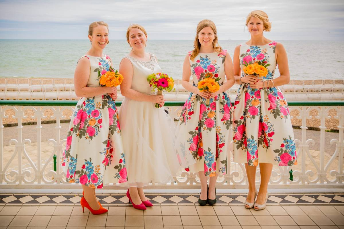 Bride and Bridesmaids - Brighton seafront